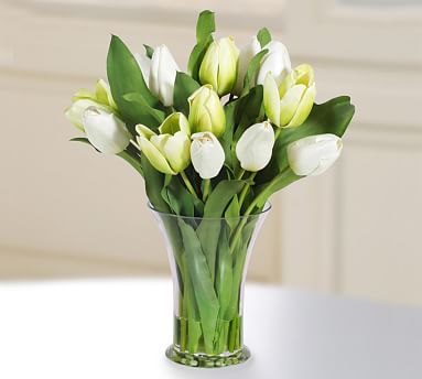 Faux Tulip in Glass Vase - White/Green