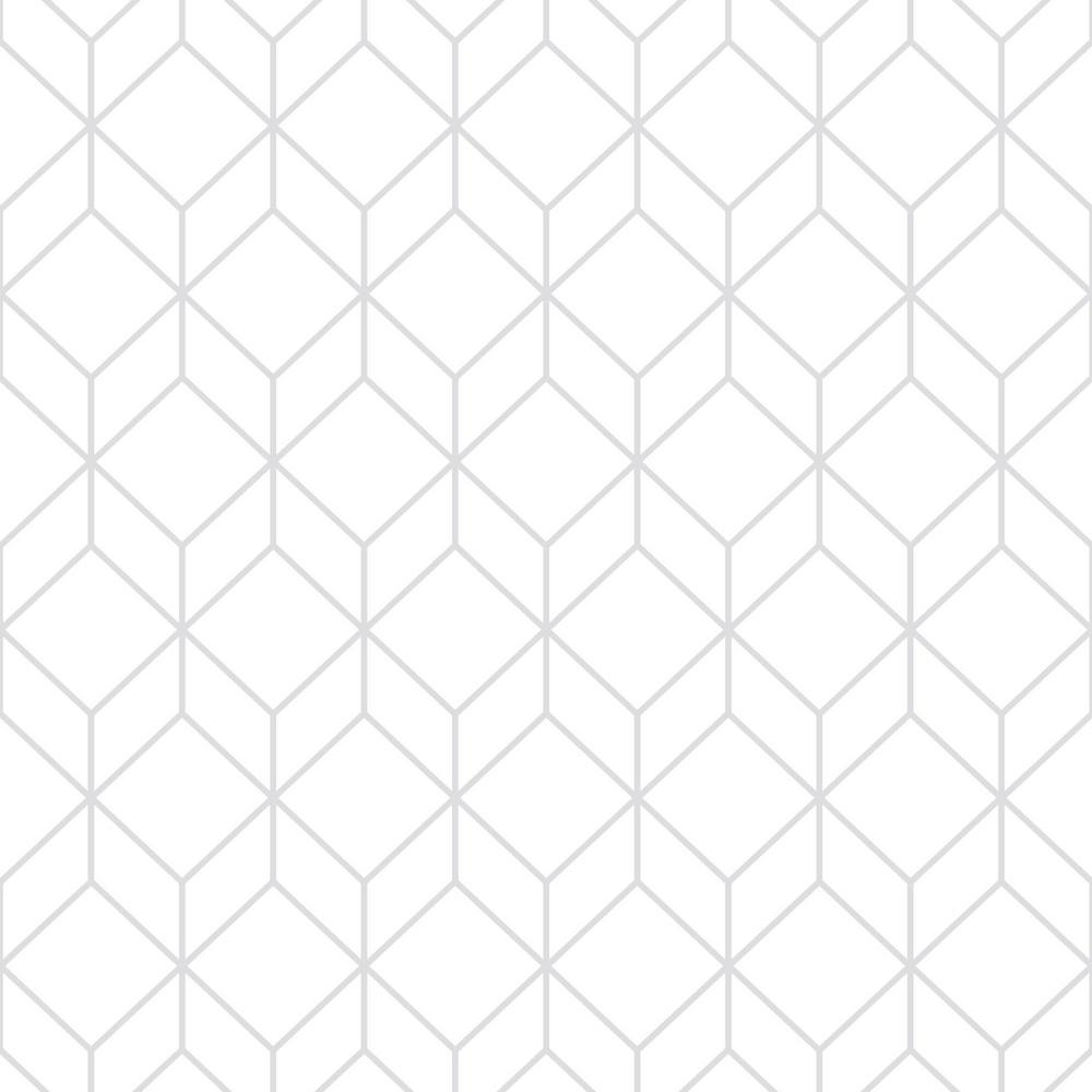 Myrtle Geo White and Silver Removable Wallpaper, White/Silver