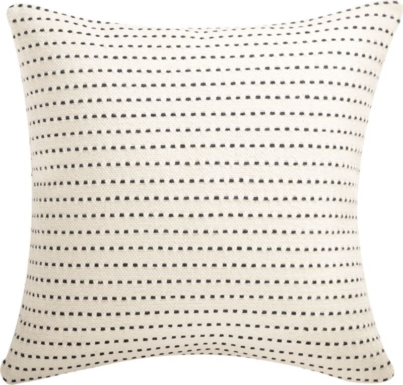 """20"""" Clique Black and White Pillow with Down-Alternative Insert, Black and White"""