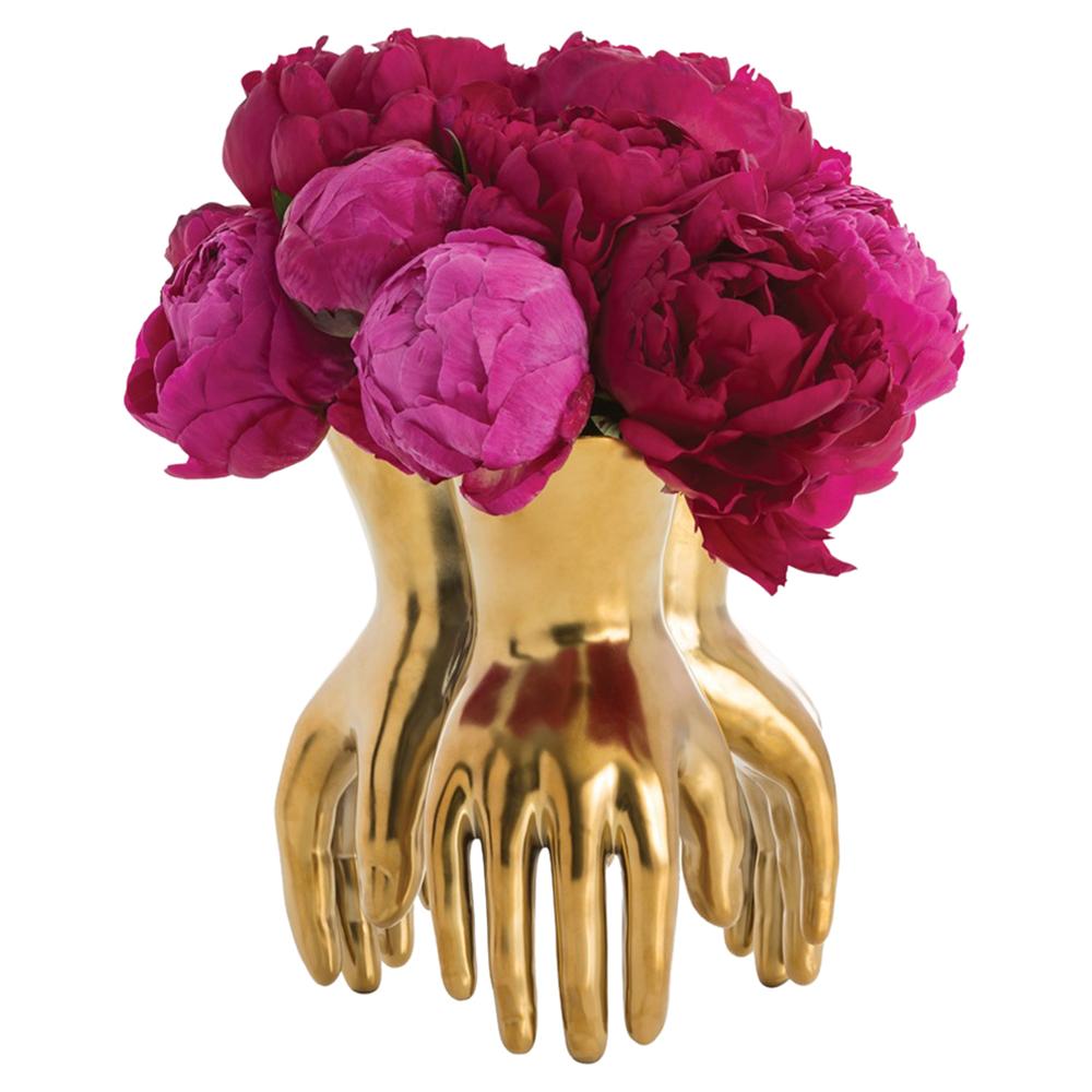 Zwart Regency Modern Golden Hands Vase