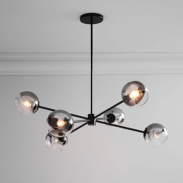 Staggered Glass Burst Chandelier, Silver Ombre/Bronze