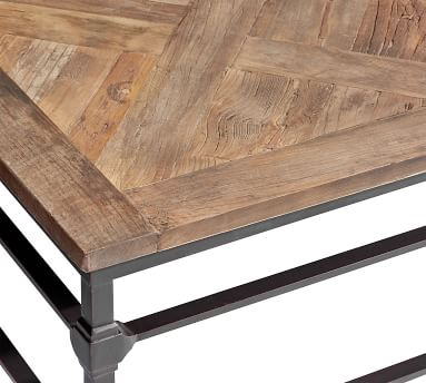 "Parquet Reclaimed Wood Square Coffee Table, Reclaimed Elm, 46""L"