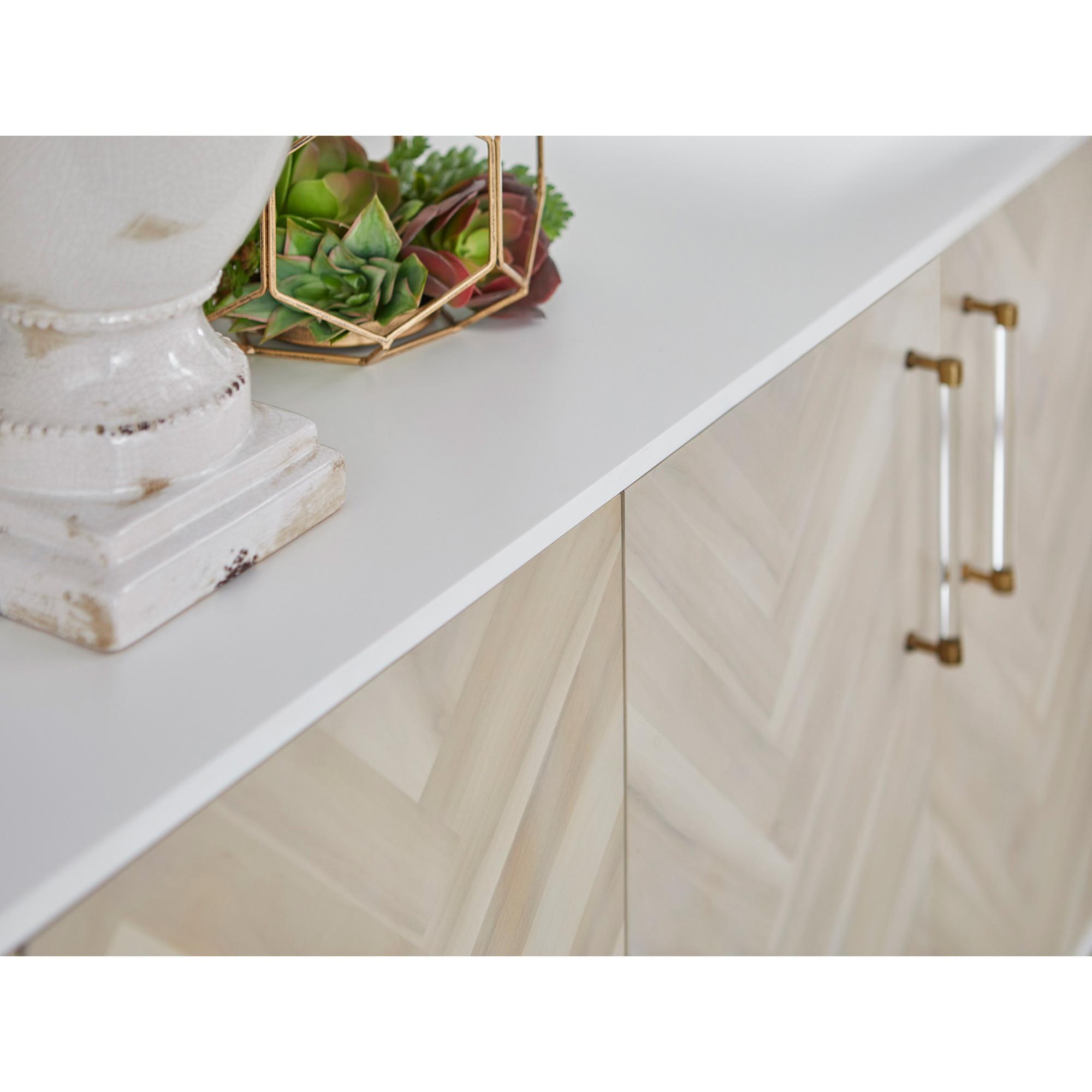 Norman Modern Classic 4-Door Herringbone Brushed Brass Acacia White Media Sideboard