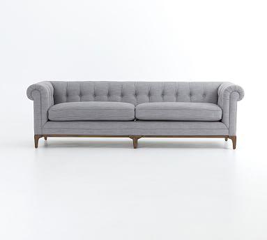 Calistoga Upholstered Sofa, Polyester Wrapped Cushions, Basketweave Slub, Charcoal
