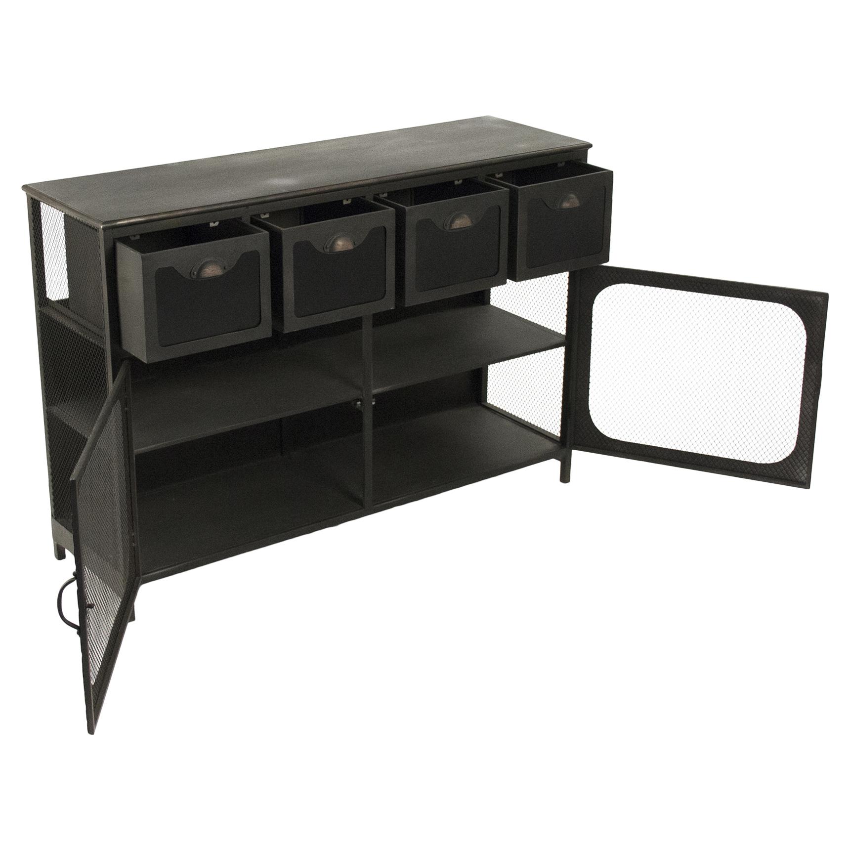 Quirrel Loft Rustic Black Iron Console Cabinet