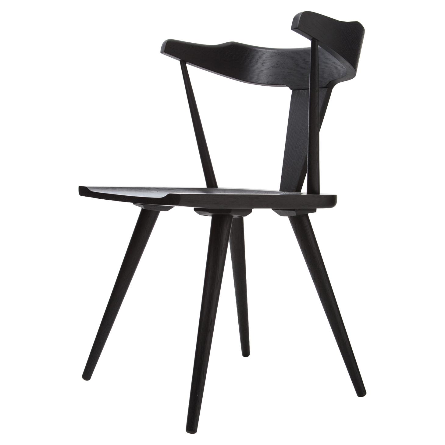 Tenly Mid Century Modern Black Oak Barrel Back Dining Chair - PAIR