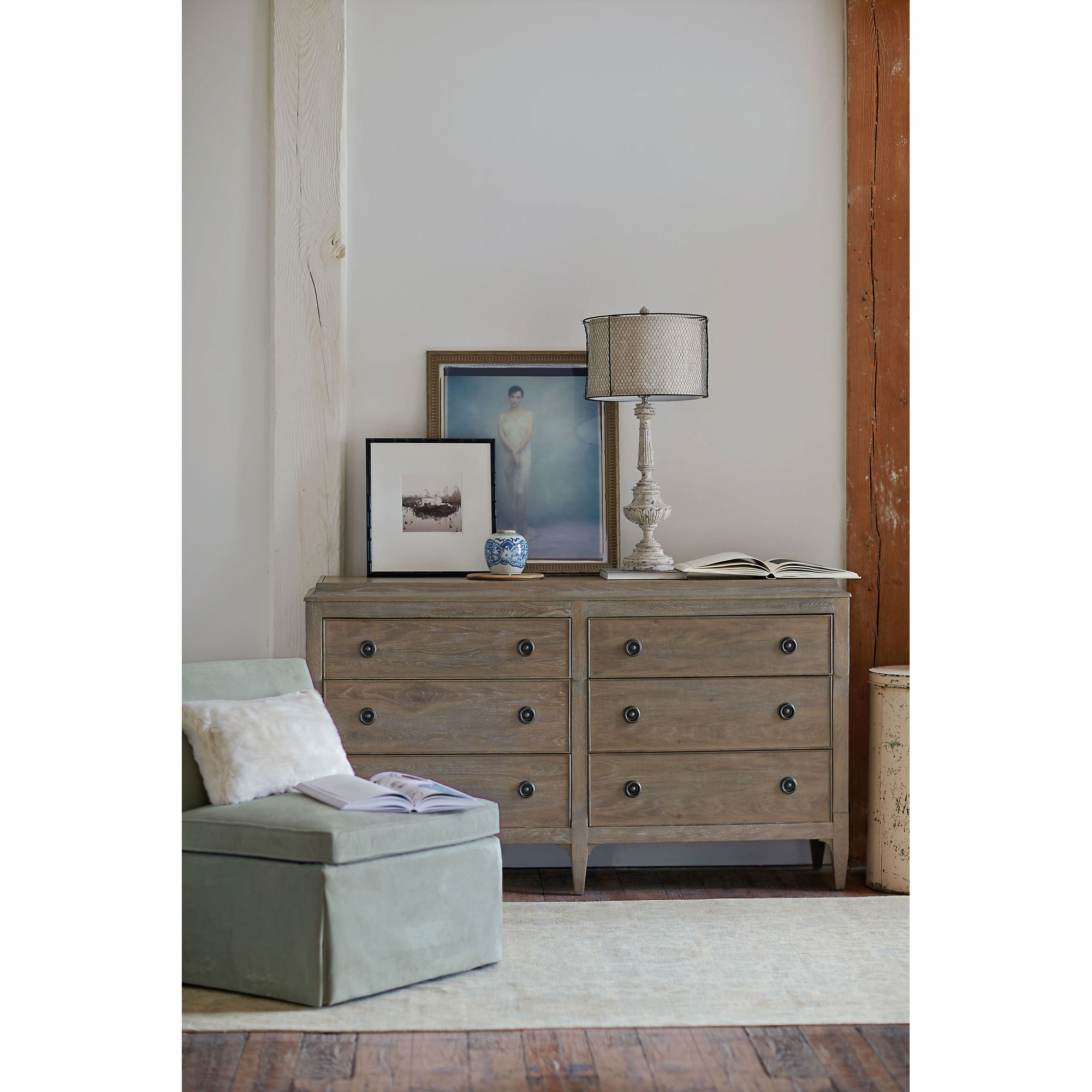 Marietta French Country Antique Oak Curved 6 Drawer Dresser