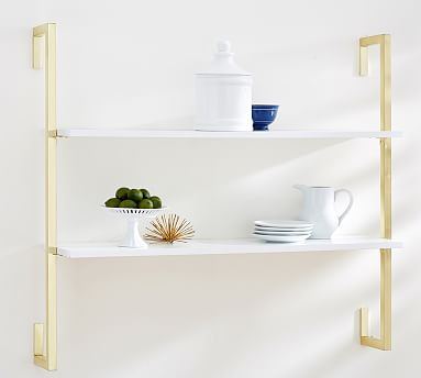 Olivia 2-Tiered Shelf, White/Gold