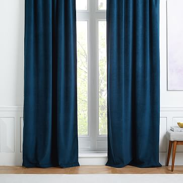 "Worn Velvet Curtain, Regal Blue, 48""x96"" (unlined)-Individual"