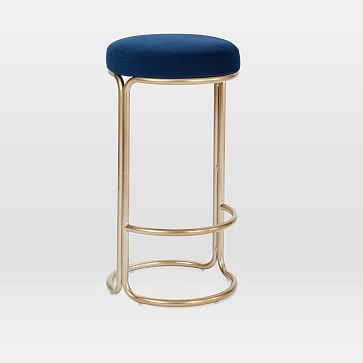 Cora Counter Stool, Bella Velvet, Ink Blue