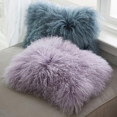 "Mongolian Fur Pillow Cover, 12""x16"", Pale Seafoam"