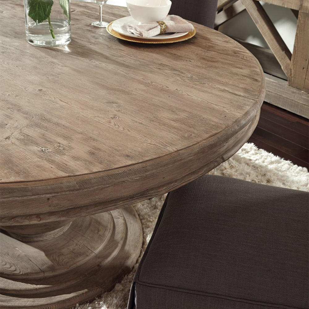 Louis Rustic Lodge Natural Brown Round Distressed Pine Wood Dining Table - 60D
