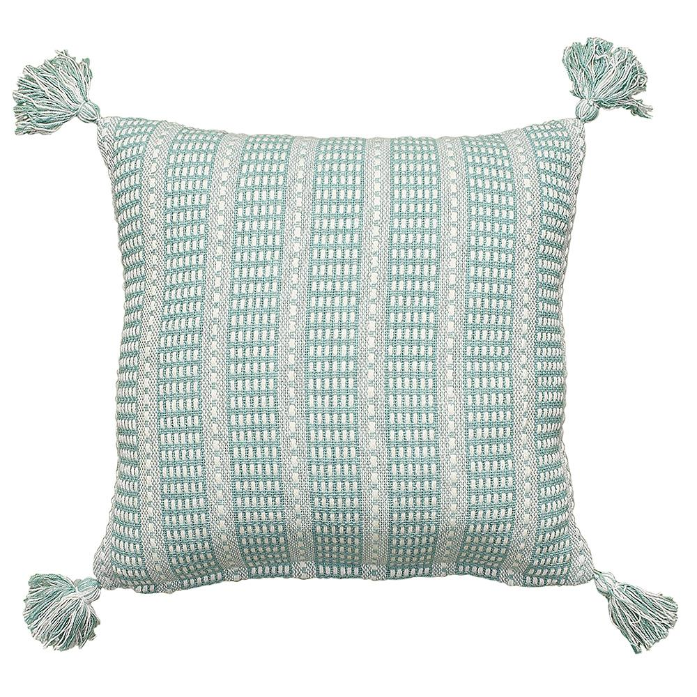 LR07309 Teal/Cream (Blue/Ivory) 18 in. x 18 in. Decorative Pillow