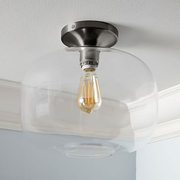 Sculptural Glass Flushmount, Large Pebble, Clear Shade, Nickel Canopy