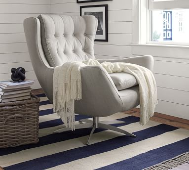 Wells Upholstered Swivel Armchair, Polyester Wrapped Cushions, Performance Heathered Tweed Indigo