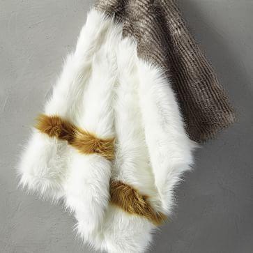 Mink Faux Fur Throw, Stone White