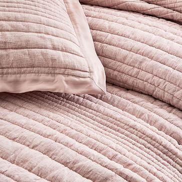 Belgian Flax Linen Linework Quilt, Full/Queen, Vintage Rose