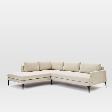 Andes Set 13: Left 2.5 Seater, Right Terminal Chaise, Twill, Wheat, Dark Pewter