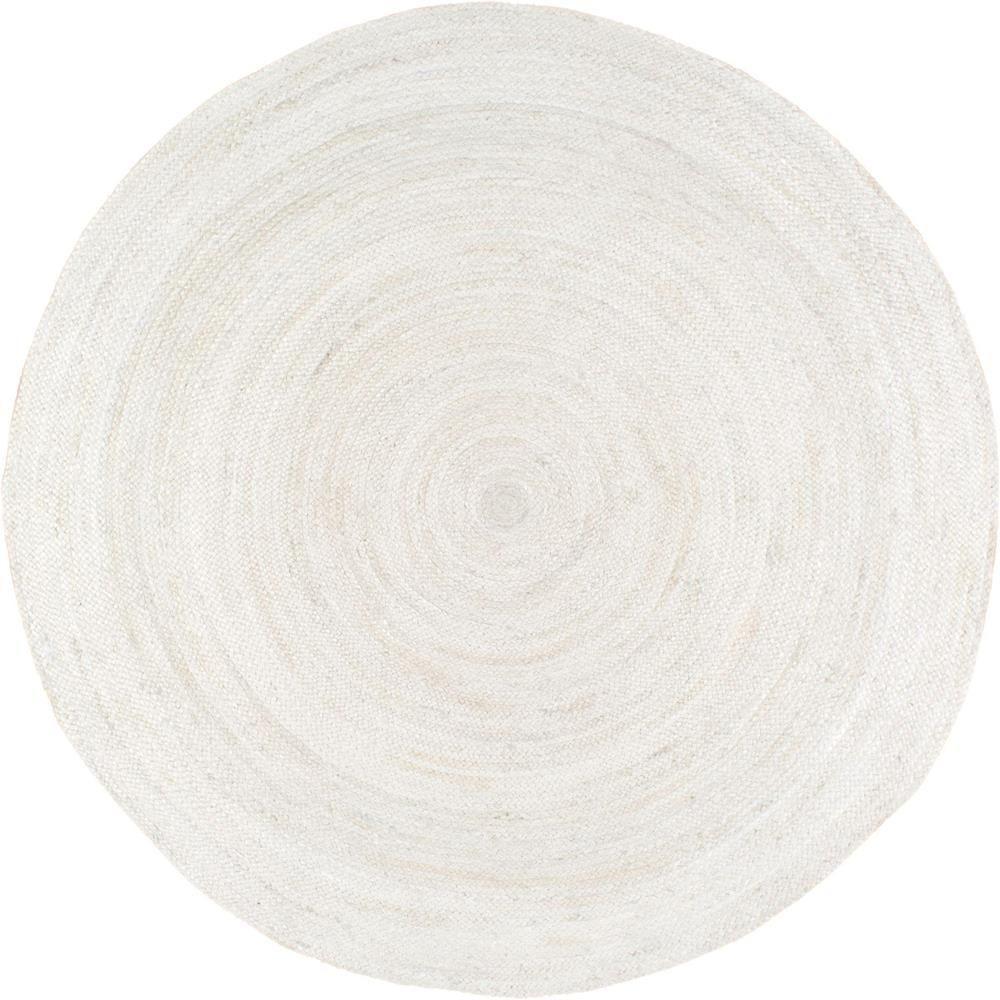 Rigo Jute White 4 ft. x 4 ft. Round Area Rug