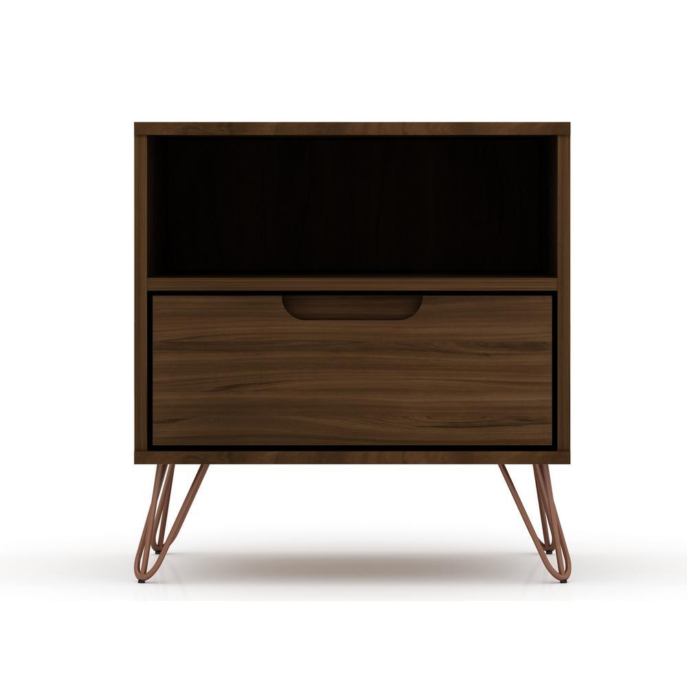 Luxor Intrepid 1 0 1 Drawer Brown Mid Century Modern Nightstand