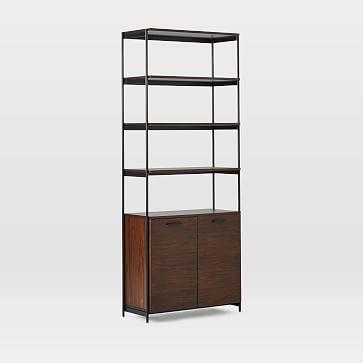 Foundry Wide Bookcase, Dark Walnut
