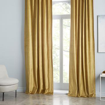 "Cotton Luster Velvet Curtain, Wasabi 48""x96""-individual"