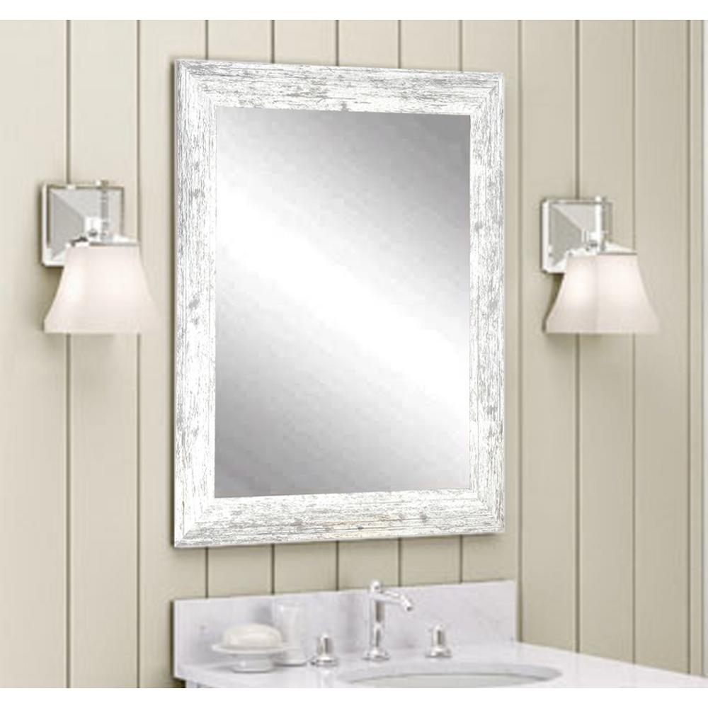 Brandtworks Distressed Decorative Rectangle White Wall Mirror Home Depot Havenly