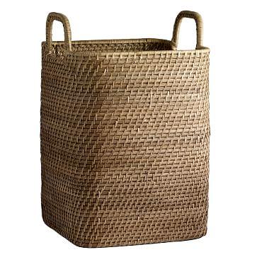 Modern Weave Handled Basket, Natural