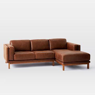 Dekalb Sectional, Left Arm Loveseat, Right Arm Chaise, Leather, Molasses, Pecan Legs
