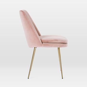 Finley Dining Chair, Low Back, Gunmetal Leg, Distressed Velvet, Light Taupe, Gunmetal