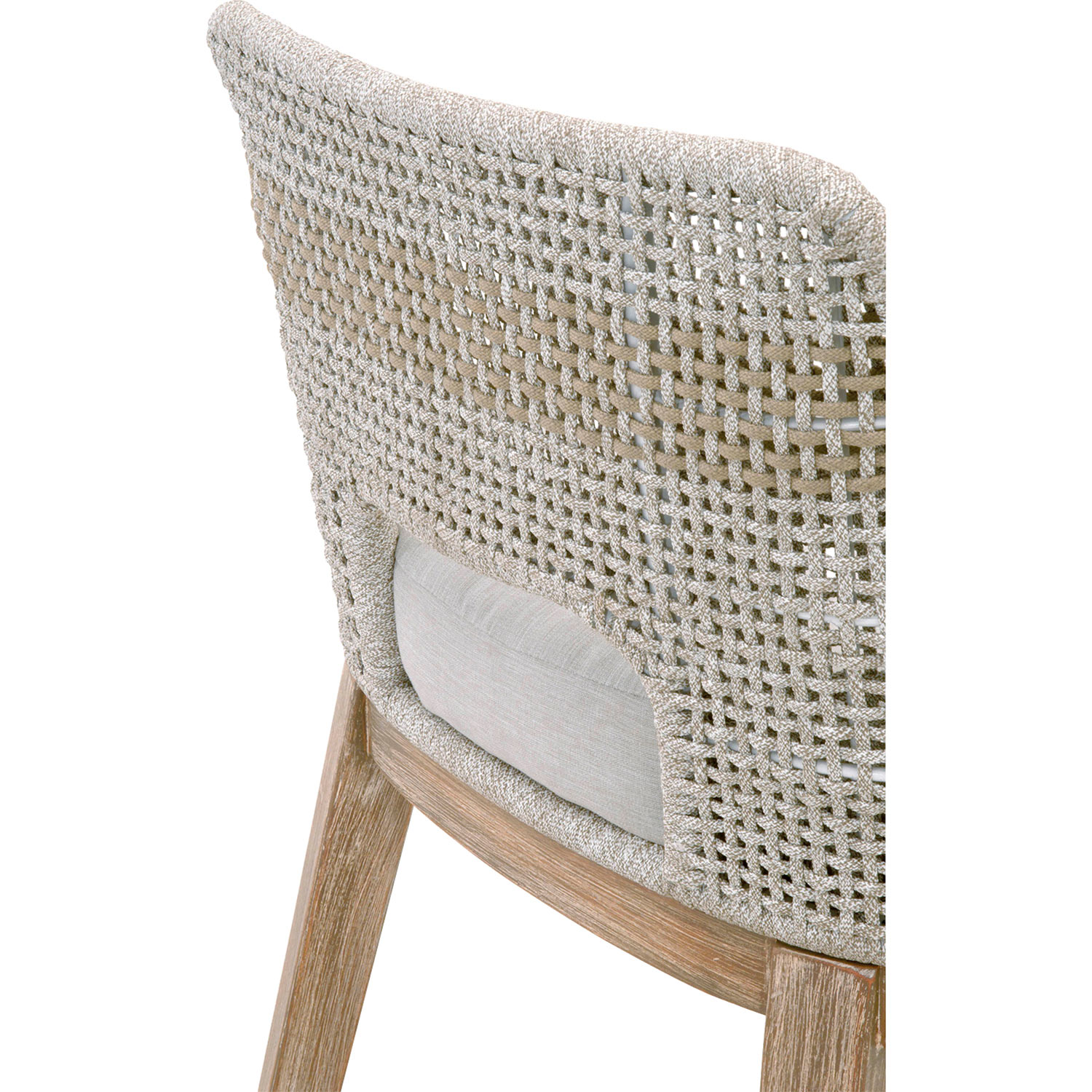 Theodore Modern Classic Grey Woven Fixed Cushion Mahogany Bar Stool