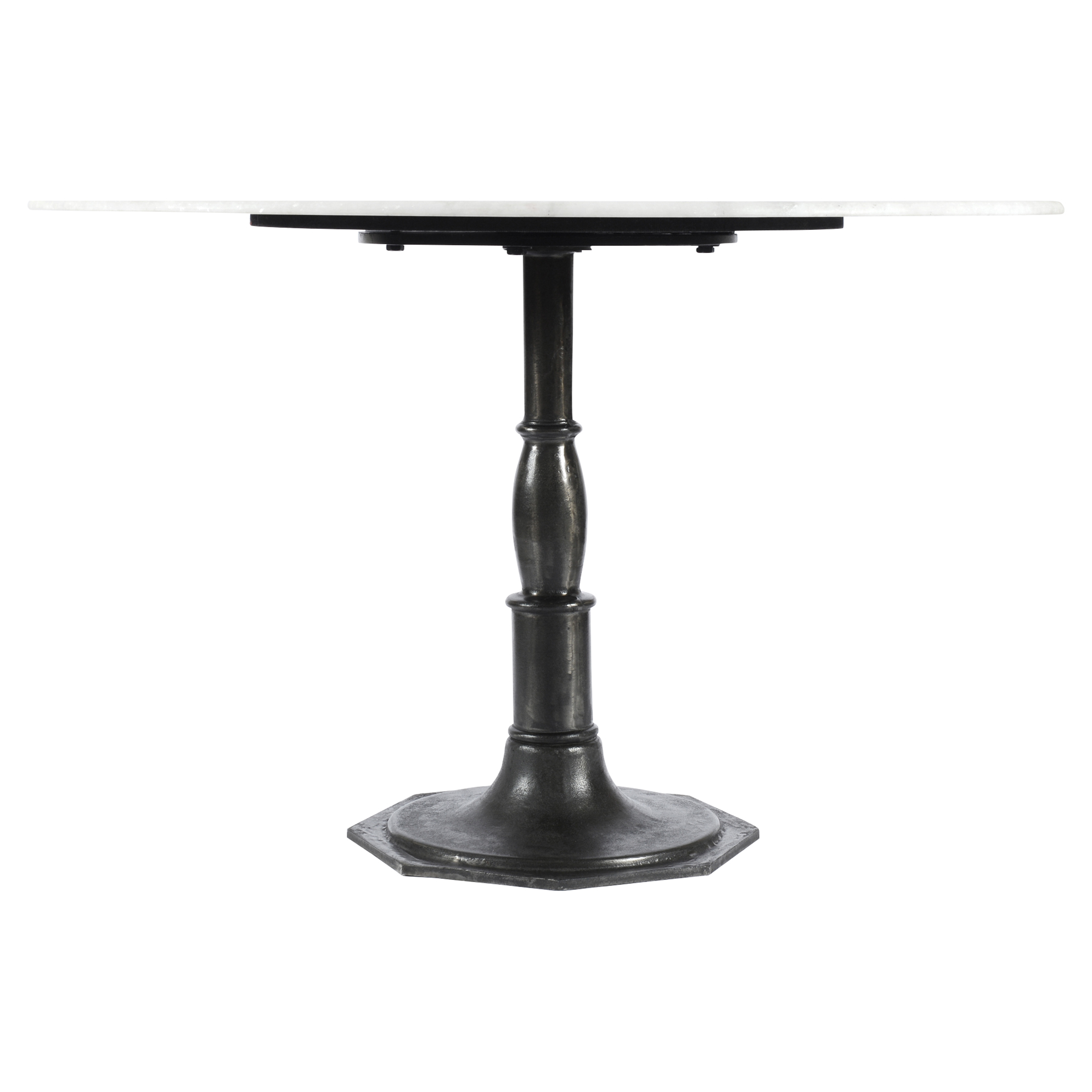 Hervey Modern French White Marble Cast Iron Round Pedestal Dining Table
