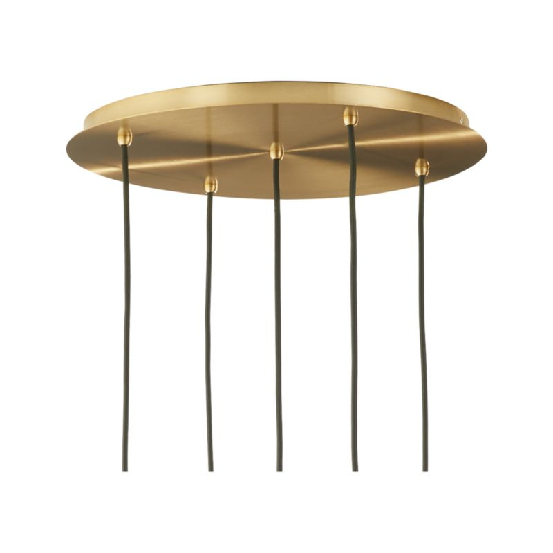 Arren Brass Round 5-Light Pendant with Clear Angled Shades