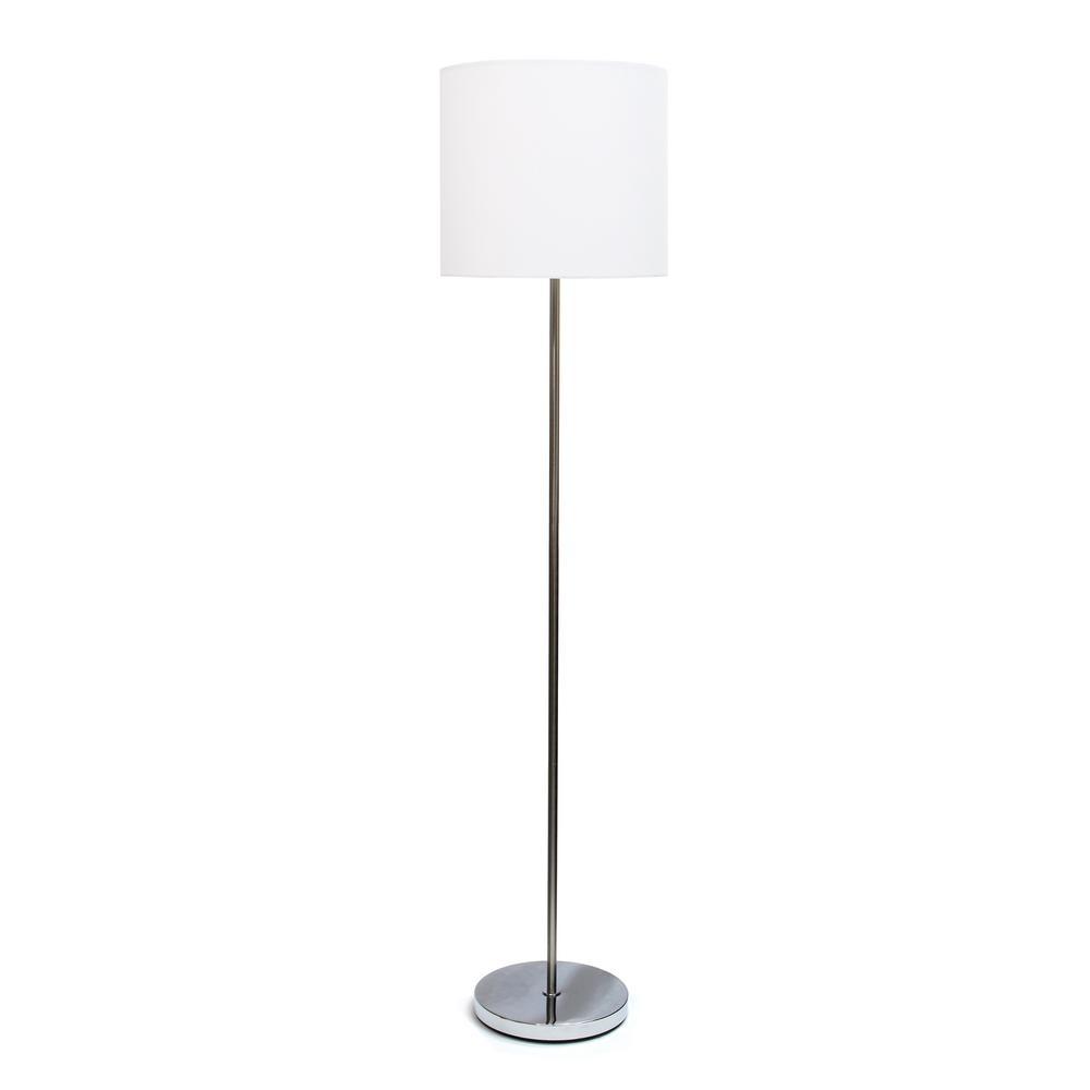Simple Designs 58.25 in. White Brushed Nickel Drum Shade Floor Lamp