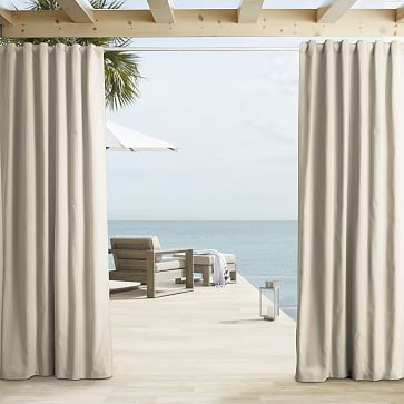 """Outdoor Solid Curtain, Natural, 48""""x124"""""""