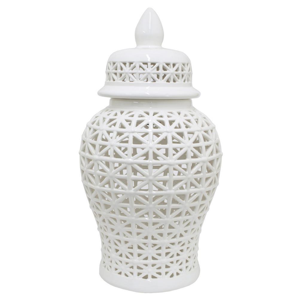 Pierced Jar, White