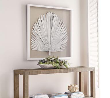 Palm Leaf Shadow Box Art, White, Large