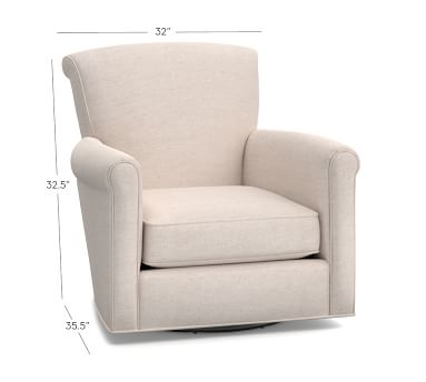Irving Upholstered Swivel Armchair, Polyester Wrapped Cushions, Twill Cream