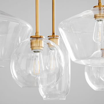 Sculptural Glass 7Lt Linear Mixed Shade Chandelier S Globe/M Pebble/L Geo Clear Brass Canopy