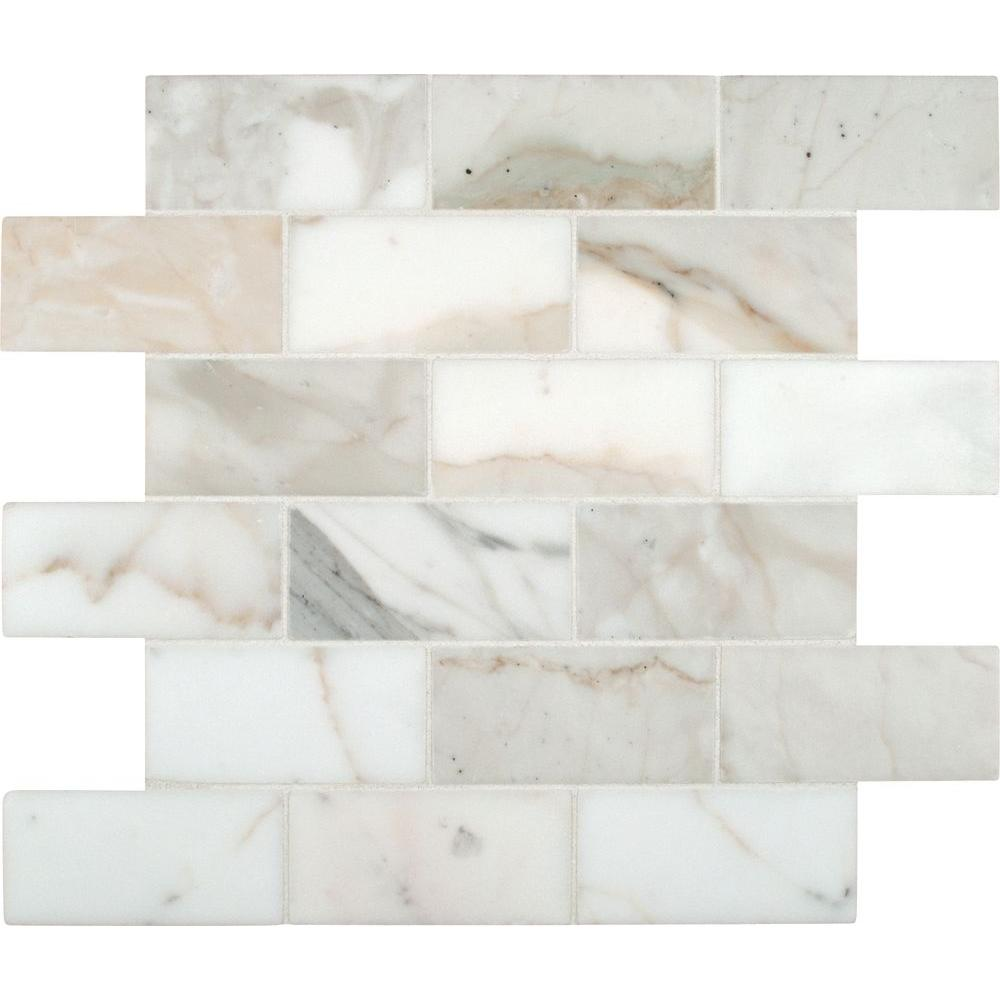 MSI Calacatta Gold 12 in. x 12 in. Polished Marble Mesh-Mounted Mosaic Tile, White