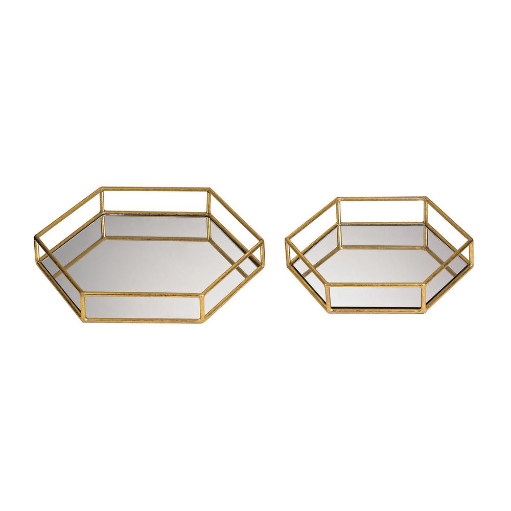 14 in. x 12 in. and 11 in. x 10 in. Mirrored Hexagonal Decorative Trays (Set of 2), Gold