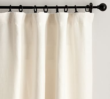 """Belgian Flax Linen Drape, Unlined, 50 x 84"""", Ivory"""