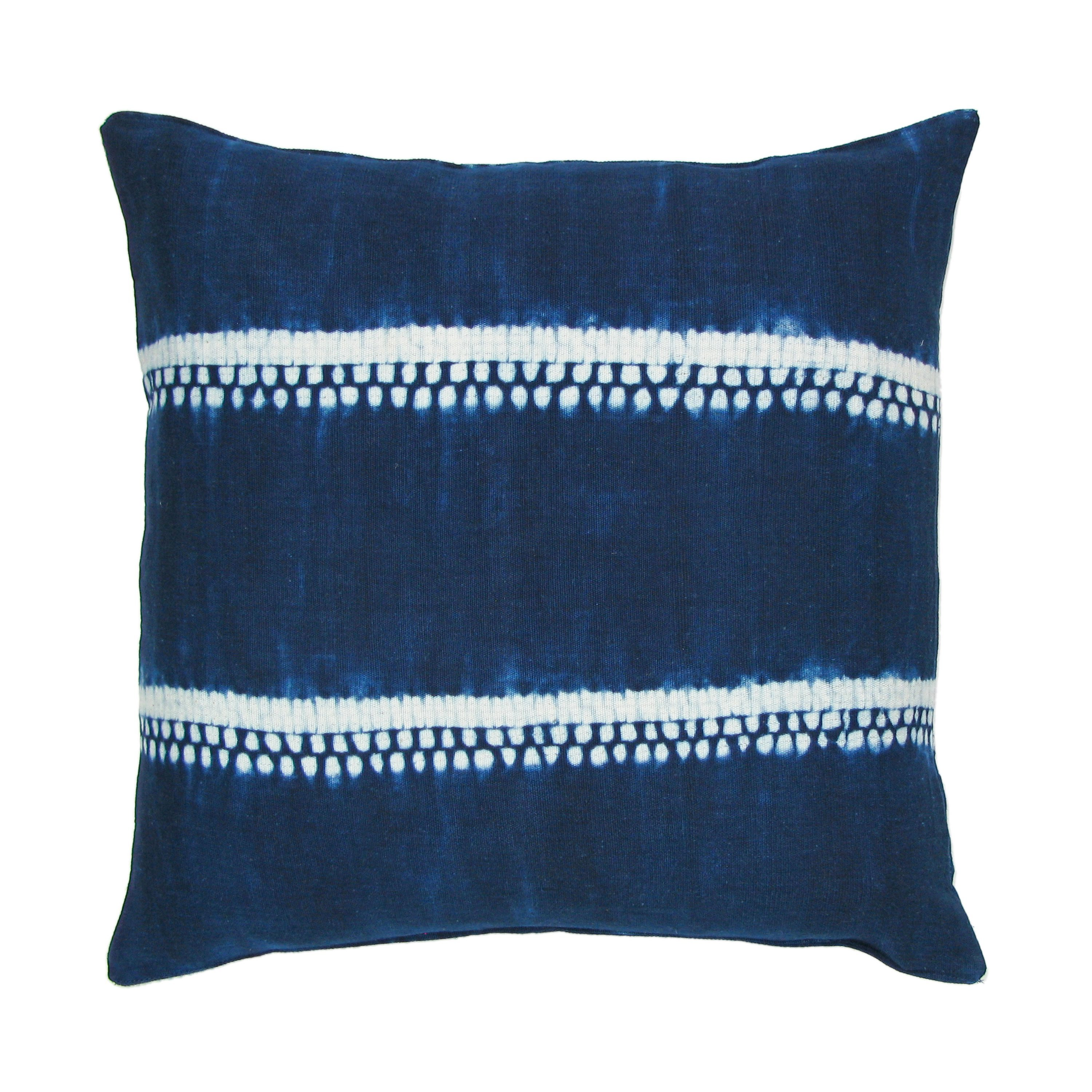 Handwoven Indigo Dot and Stripe Pillow with Insert