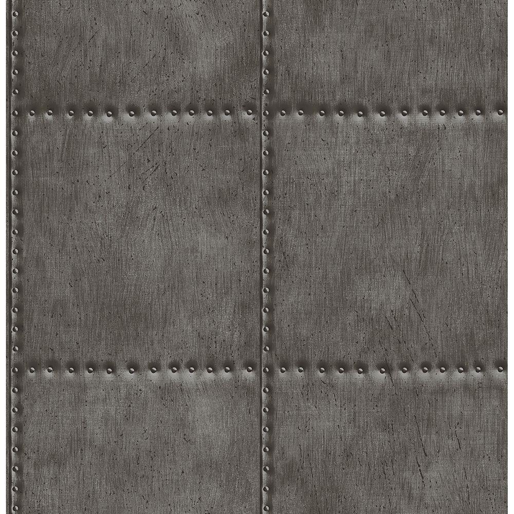 Charcoal (Grey) Sheet Metal Rivets Wallpaper