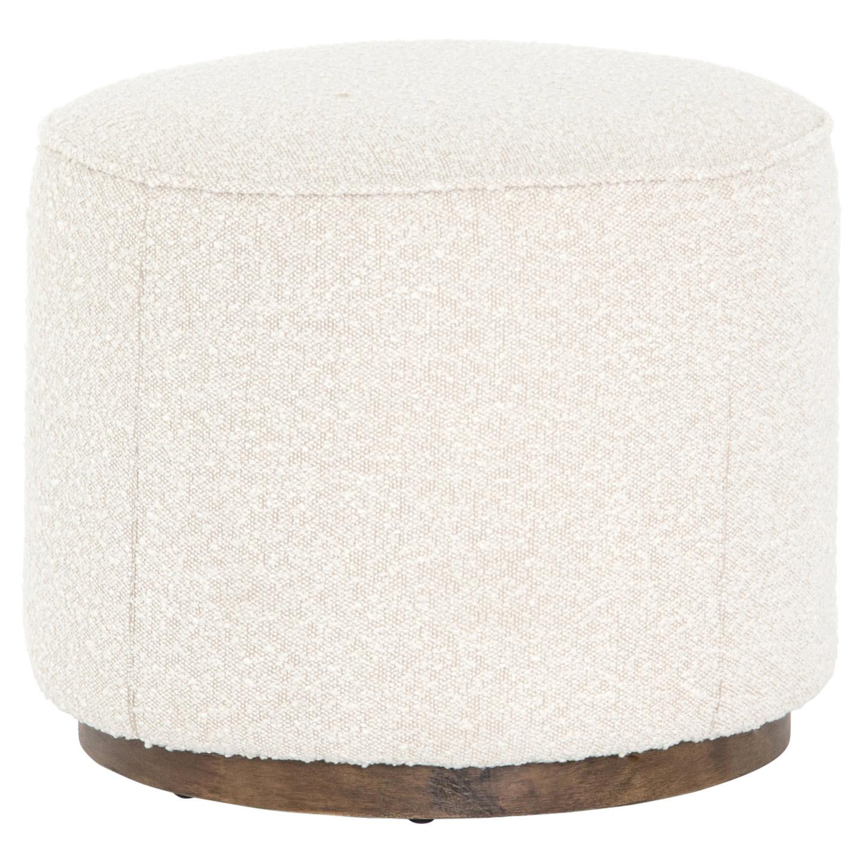 Samantha Ivory Upholstered Distressed Wood Round Ottoman