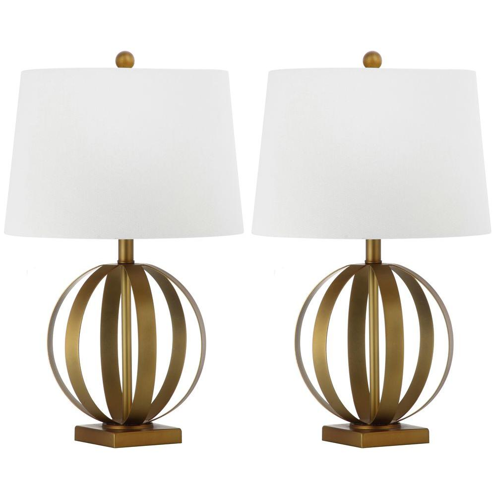 Safavieh Euginia Sphere 24.5 in. Gold Table Lamp with White Shade (Set of 2)