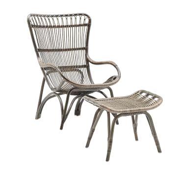 Sika Design Monet Rattan Chair and Ottoman, Black