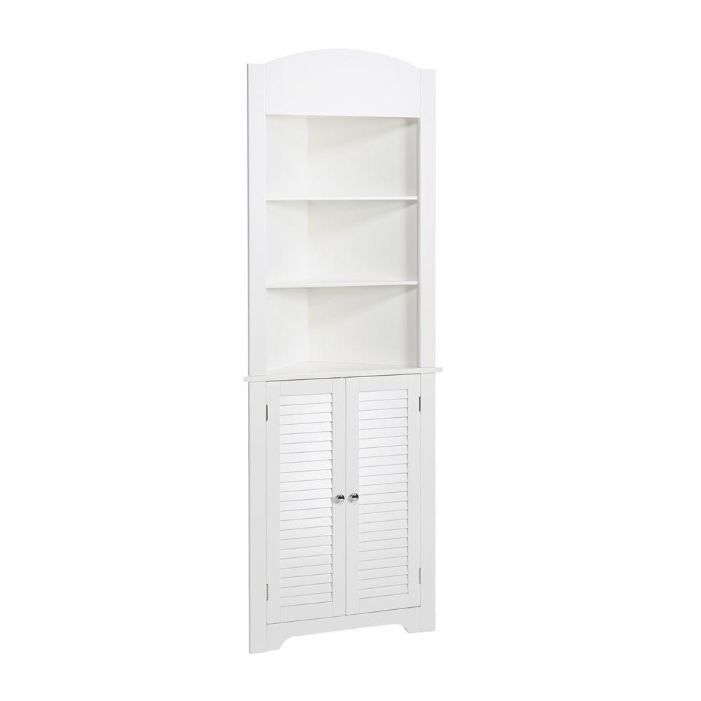 Riverridge Home Ellsworth 23 1 4 In W X 68 31 100 X 11 1 2 In D Corner Bathroom Linen Storage Tower Cabinet In White Home Depot