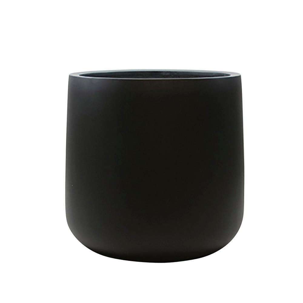 13 in. x 13 in. Black Matte Fiberglass Round Bottom Planter