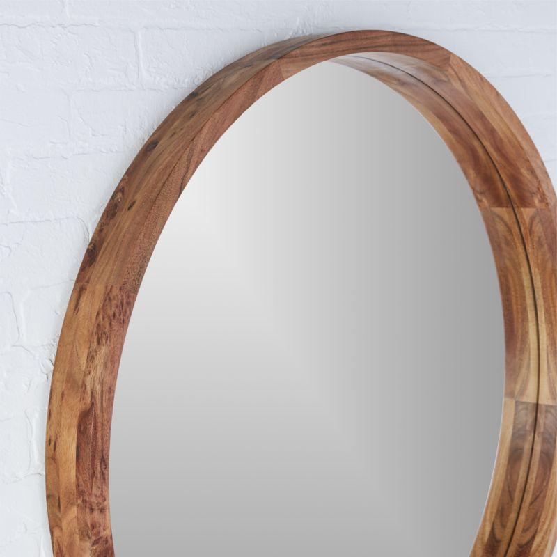 """acacia wood 40"""" mirror"""